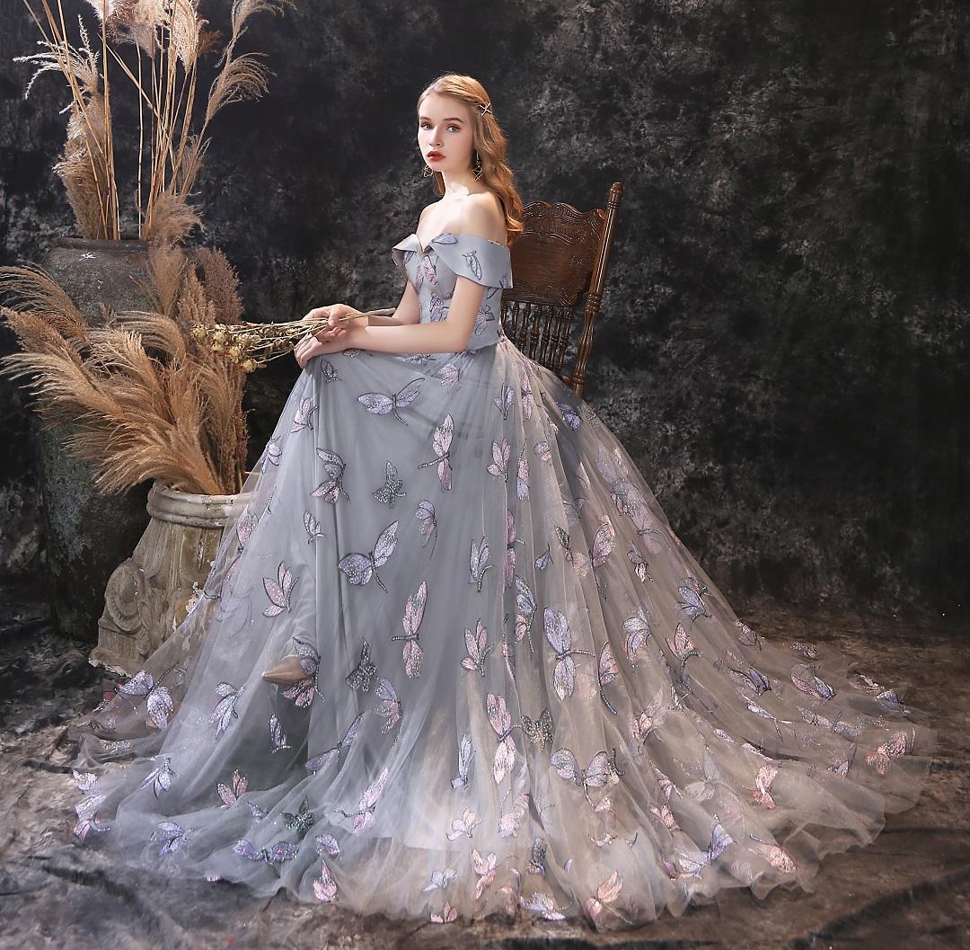 2021 Vestidos de fiesta de moda para chicas jóvenes elegantes Robe de Bal Longue Libélgy Lace Off-Hombro Sexy Lace-Up