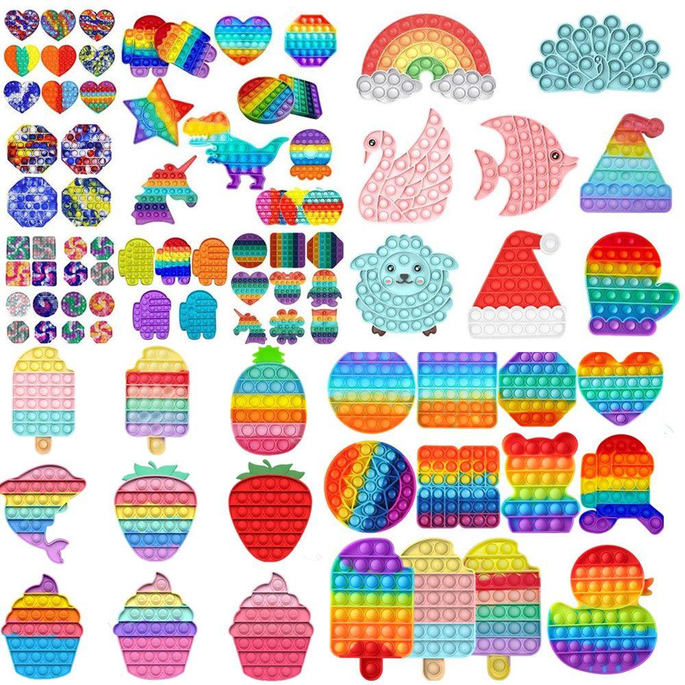 Fidget Toys New Rainbow Push It Bubble Antistress Toys Adultos Niños Anti-Estres Soft Sensor Regalos Reutilizable Squeeze Toys Estrés Anhelor Juegos Juegos