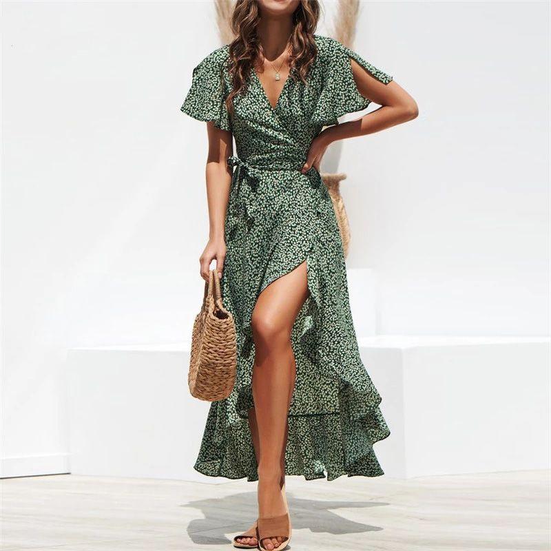 Summer Beach Maxi Dress Women Floral Print Boho Long Chiffon Ruffles Wrap Casual V-Neck Split Sexy Party Robe