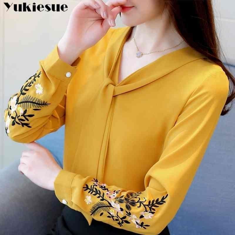 Langarmstickerei Chiffon Bluse Frauen Tops und Blusen Hemd Büro Dame Shirt Frauen Tops Blusas Weibliche Bluse 210324