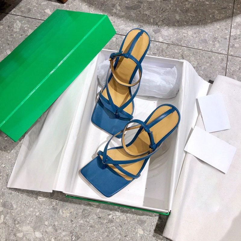 النساء الأحذية الإمتداد الصنادل الكاحل حزام صندل عالية الكعب مربع تو مضخة فاخرة الوجه يتخبط كعب أزياء اللباس حذاء مصمم الشرائح nappa جلد البغال مضخات