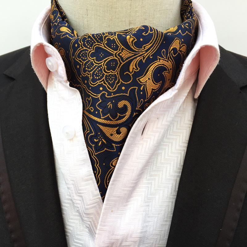 Sitonjwly Mens Ascot Vintage Paisley Classic Wedding Business Formal Cravat Self Ties Gentleman Polyester Neck Tie Custom LOGO