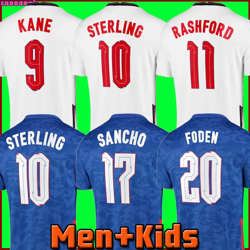 كرة القدم جيرسي 2021 2022 Kane Sterling Rashford Sancho Grealish Mount Foden Henderson Maguire 20 22 National Football Shirt Men + Kids Kit مجموعات الجوارب الزي الرسمي