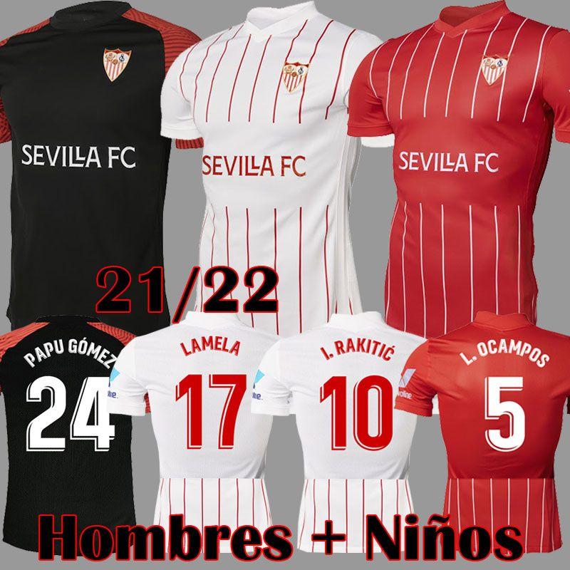 21 22 Camisa de futebol Sevilla FC PAPU GOMEZ I.RAKITIC L.OCAMPOS DE JONG J.NAVAS SUSO MUNIR Y.EN-NESYRI 2021 2022 Kits masculinos + infantis camisetas de futebol