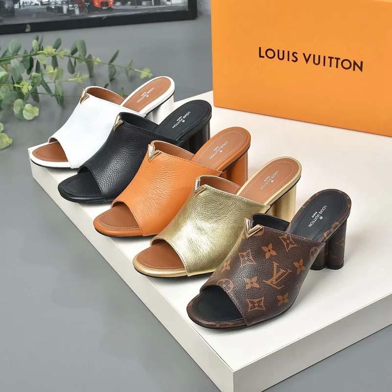 고전 여성 샌들 패션 비치 두꺼운 하단 슬리퍼 알파벳 레이디 샌들 가죽 하이힐 슬라이드 신발 SH008 AL170 01