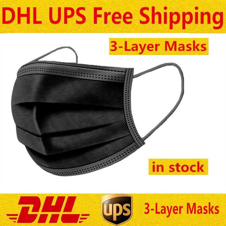 재고! 탄성 귀 루프가있는 검은 일회용 페이스 마스크 3 Ply 통기성이 좋고 먼지 공기 오염 보호 팩을 차단하는 데 편안함