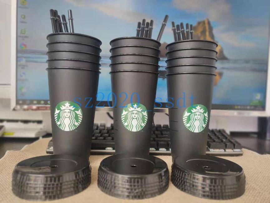 Schwarzer Starbucks 24oz / 710ml Kunststoff wiederverwendbare Sippy Cup mit transparentem Zylinderdeckel zum Trinken