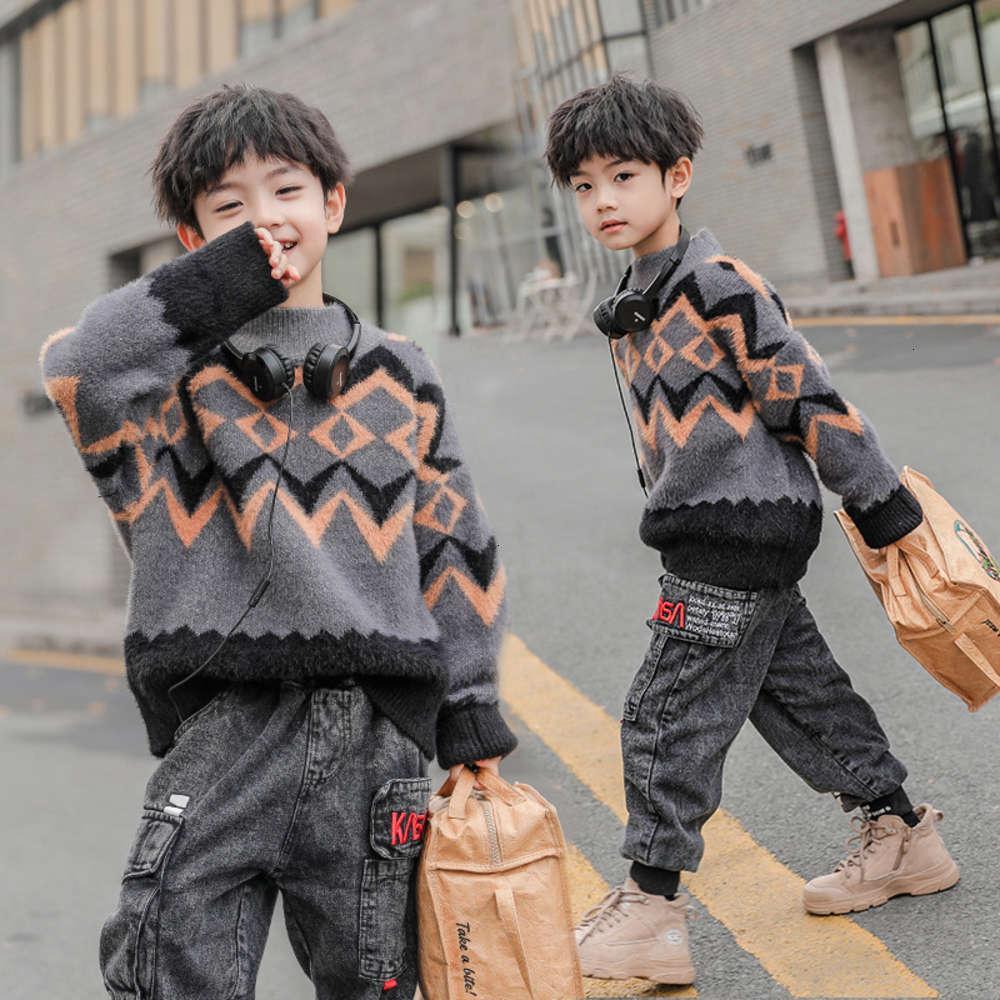 Кардиган физический стрельба осени зимний плюшевый свитер Новый корейский головчатый детский универсальный и модный персональный утолщенный пуловер