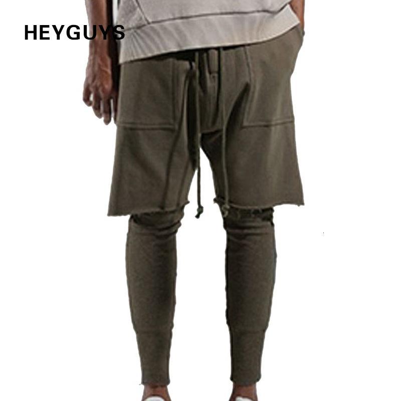 Heyguys Fashon Fashion Fitness Pantalon long Men Hommes Casual Pantalon de survêtement Baggy Jogger Pantalons Fashion Foded Bas Streetwear HiPhop