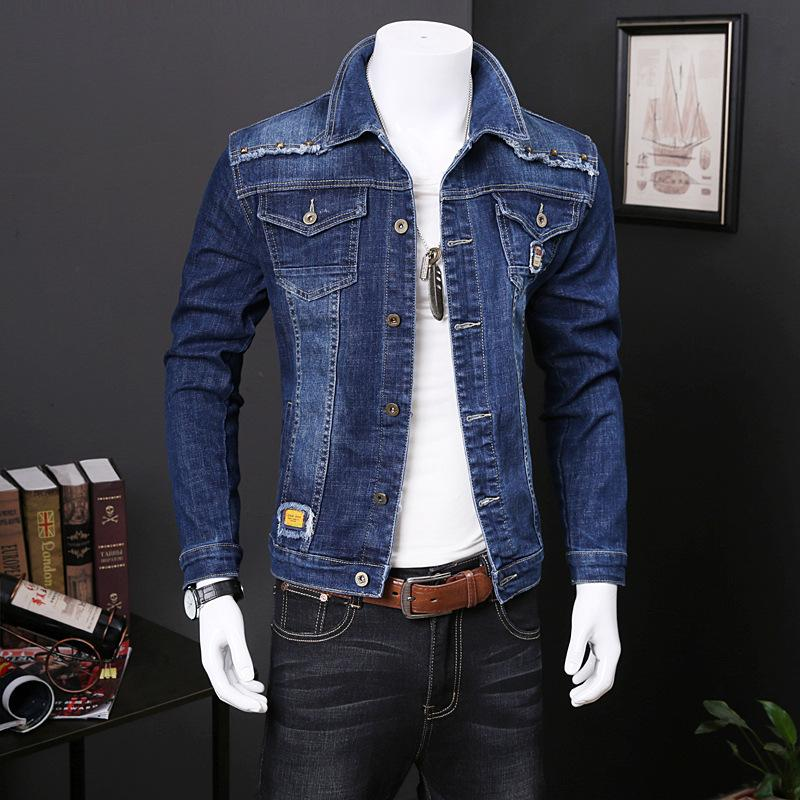 2021 men's jeans jacket Korean fashion spring and autumn loose Outerwear Coats handsome casual top elastic work