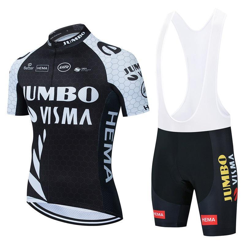 Tour de فرنسا 2021 برو فريق جامبو visma الدراجات جيرسي مجموعة الصيف تنفس قصيرة الأكمام الدراجات الملابس مريلة السراويل البدلة