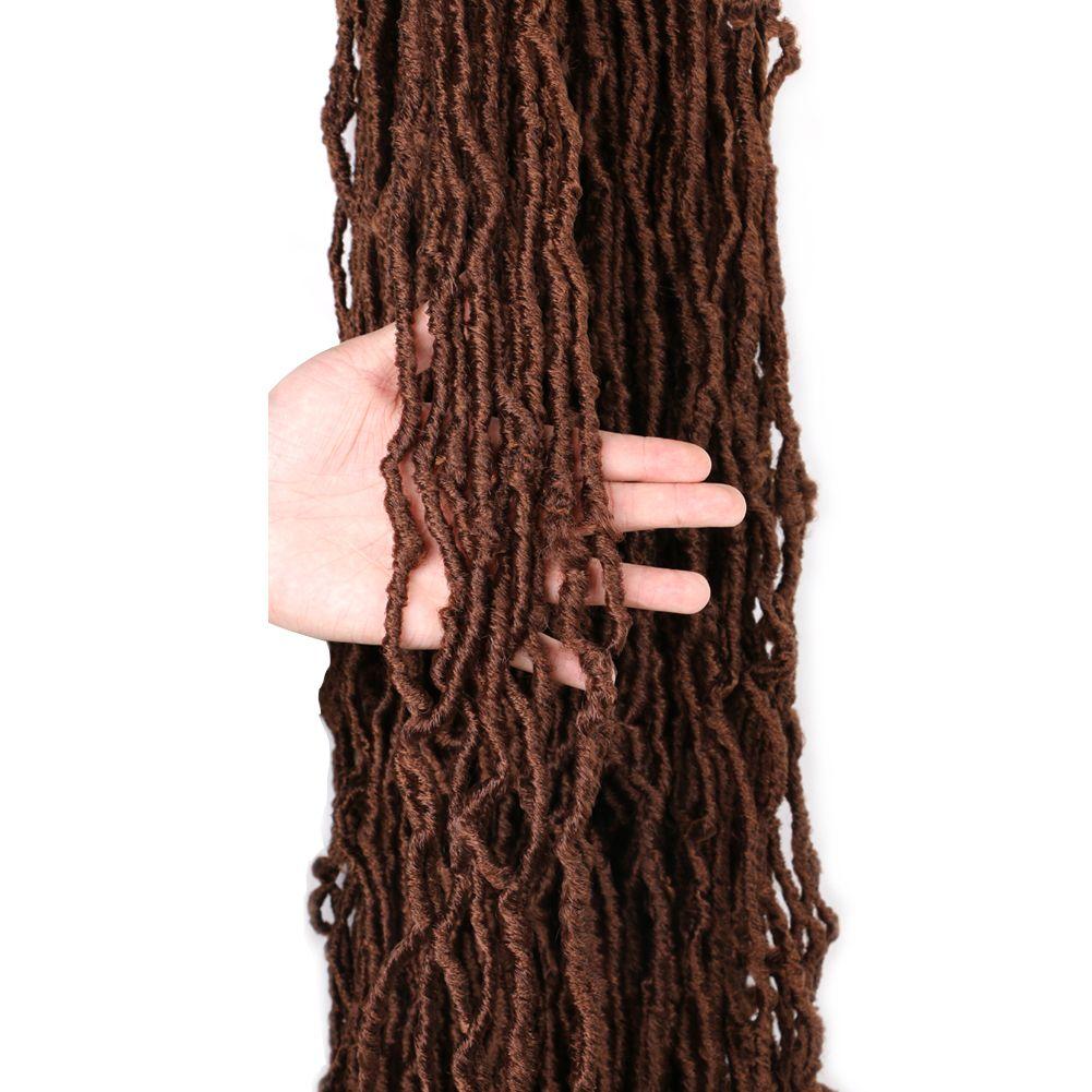 Богиня мягкая нучка Мягкие крючком для волос косы 36 дюймов Faux Locs вьющиеся синтетические волосы до петли вязание крючком