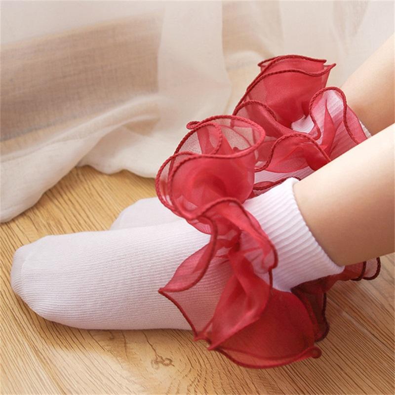 أطفال الطفل الجوارب الفتيات القطن الدانتيل ثلاثي الأبعاد كشكش جورب الرضع طفل الجوارب الأطفال ملابس هدايا عيد الأزياء الساخن 808 v2