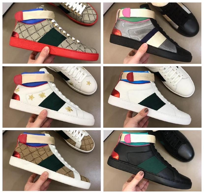 Designer Scarpe da uomo Donne Sneaker Ape Snake Tiger High Gang Casual Scarpe Casual Chaussures Genuine Sneakers in vera pelle ricamo Classic Trainer Box Incluso
