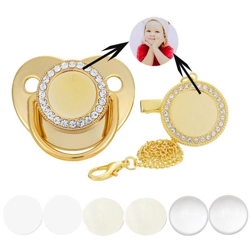 Baby Baby Chagifier Rhinestone Clips Gold Bling personalizado personalizado Sublimación Dummy Clip Nipple 6 Colores Pickificadores #