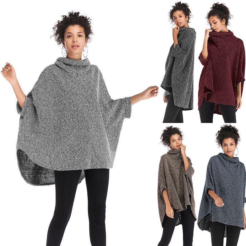 Venta de velocidad a través del invierno de las mujeres en Europa y el escudo de cuello alto irregular, la manga de murciélago, se pone un punto de chaquetas.
