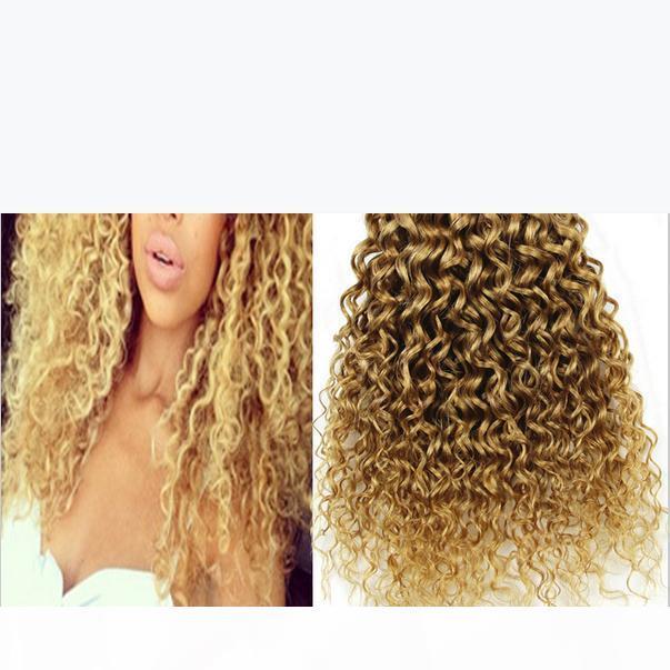 9A 싼 브라질 깊은 곱슬 꿀 금발의 인간의 머리카락 3pcs 많이 # 27 딸기 금발 브라질 버진 인간의 머리 깊은 곱슬짜리 번들