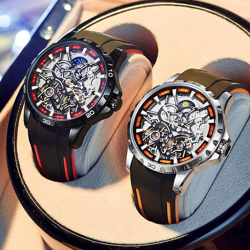 Airang Double Flying Wheel Hollow Out Automatic Mechanical Watch For Men Wristwatches