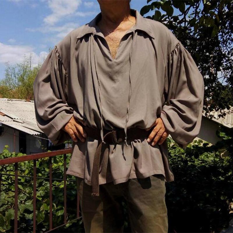 Homens Casuais Camisas Verão Homens Soltos Grande Tamanho S-5XL Abra-se Collar Sólida Manga Completa Pullover Tops Masculino Streetwear Roupas Exteriores