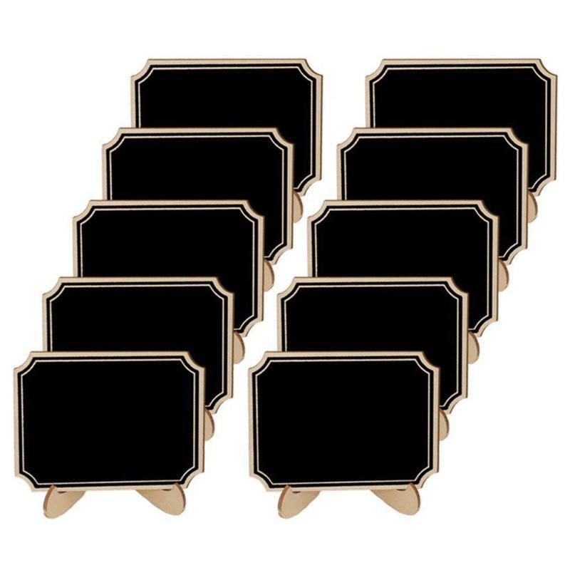 Blackboards 20 Paket Mini Kara Tahta Destek Şövale Standı, Yer Kartları Küçük Dikdörtgen Küçük Ahşap Blackboard Düğün Doğum Günü PA