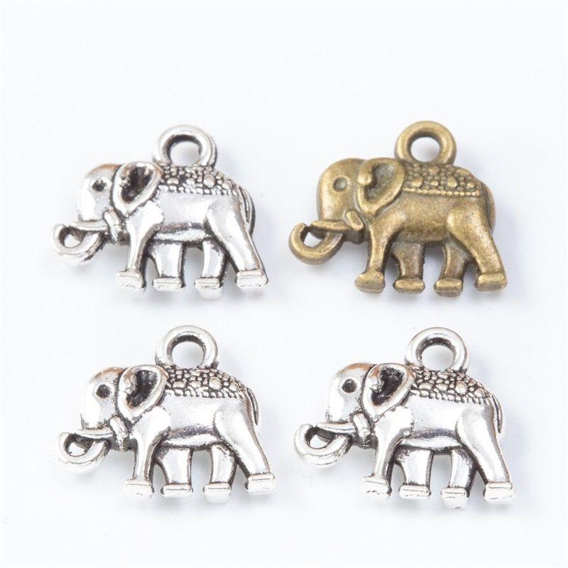 20 stücke charme doppelseitig elefant 13x12mm tibetische bronze silber farbe anhänger antiken schmuck machen diy handgemachte handwerk 1427 q2