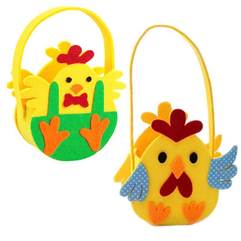 Paskalya Yumurta Sepeti Hediye Kutuları Çanta Dokunmayan Chives Baskılı Tuval Taşıma Şeker Çanta Ev Depolama Tote Wrap
