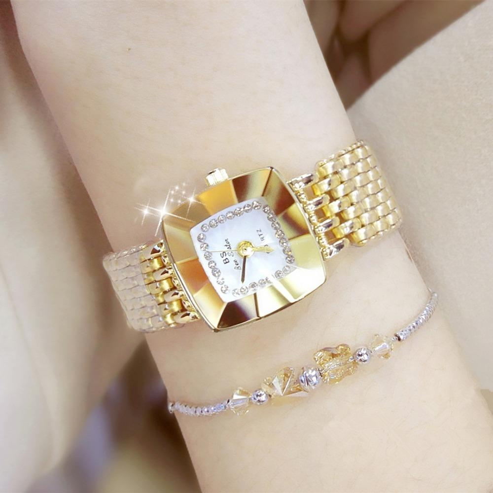 Marca de luxo mulheres pulseira relógios moda menina vestido relógio de pulso de relógio de relógio de quartzo relógio esporte rosa relógio de ouro relojes mujer