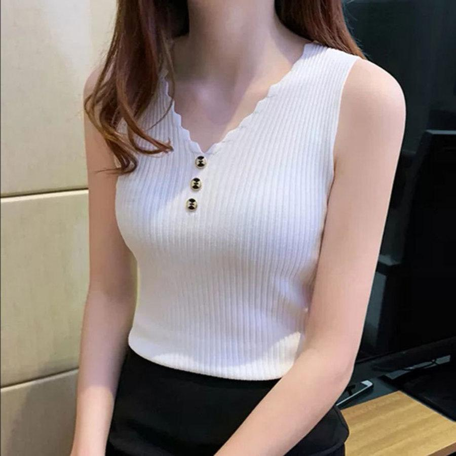 New Summer Lanyiren's V-neck Single Breasted Fake Half Open Chest Pure Color Slim Fit Foreign Style Knitted Vest Suspender WNE6