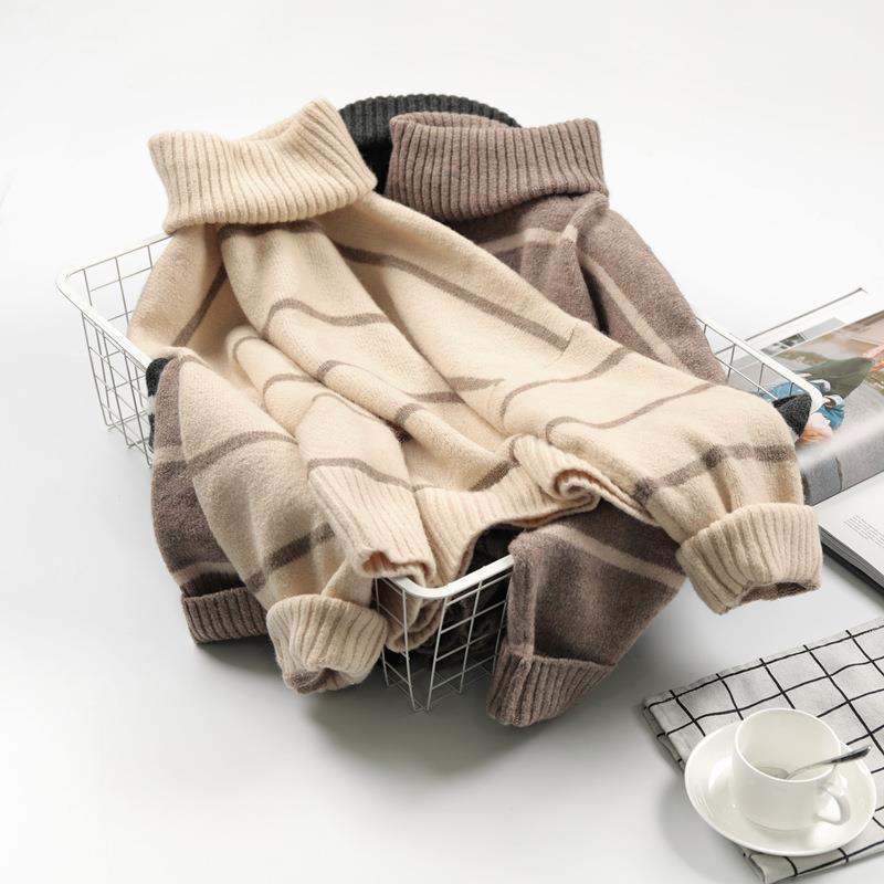 Damenpullover Rollkragen Lose Frühling und Herbst Koreanische Net Rot Lazy Wind Pullover Strickhemd Mantel