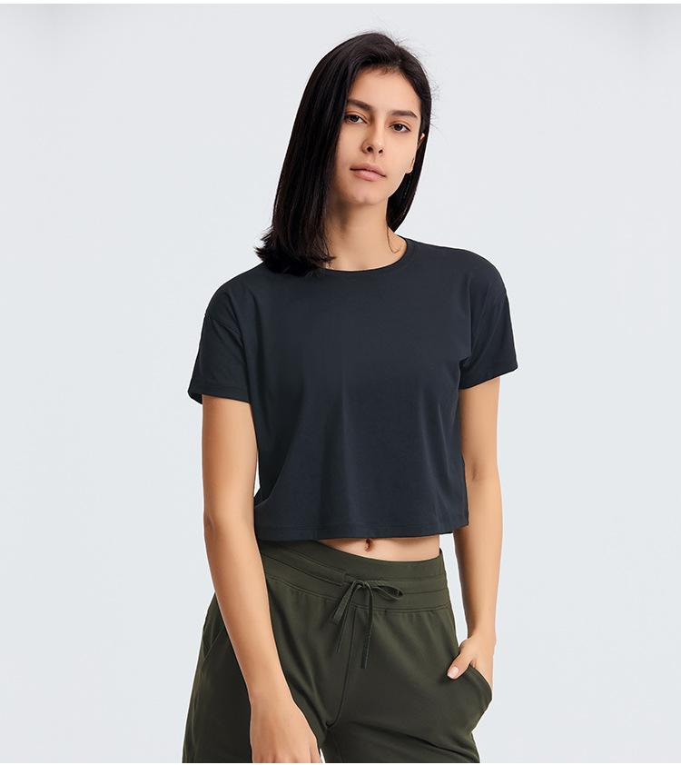 Yoga Tops рубашка хлопчатобумажная спортивная повседневная футболка с коротким рукавом тренировки крытый быстрый дышащий резервуар для женщин
