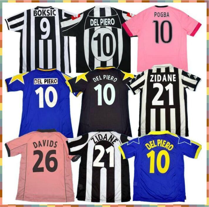 Retro Juve del Piero Conte Soccer Jersey Pirlo Buffon Inzaghi 84 85 92 95 96 97 98 99 02 03 Rossi Zidane Alte Maillot Davids Boksic Shirt