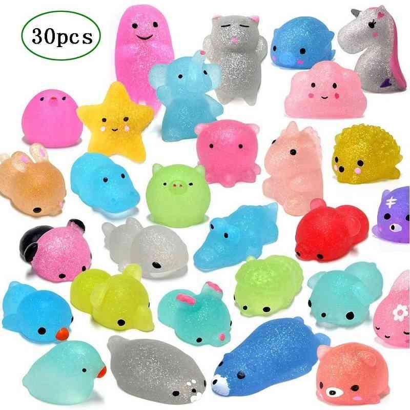 30 pcs Mochi Squishy Brinquedos Glitter Mini Animal Em Forma Squishies Brinquedos Favores De Party For Kids Stress Relief Toines Xmas Engraçado presentes 210330