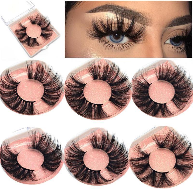 5D visón Pestañas 25 mm 3D Mink LETH 100% Hecho a mano Pestañas Falsas Big Long Dramatic Fluffy Faux Mink Palestes Maquillaje Ojo Petras Extensión para maquillaje de ojos