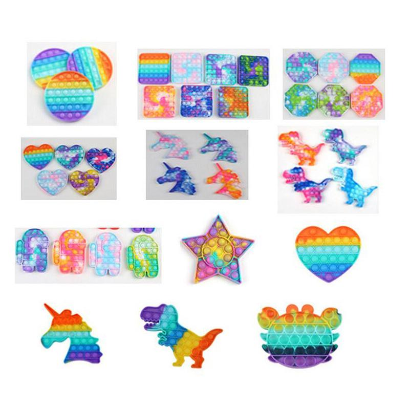무지개 위장 푸시 버블 Fidget 장난감 팝 파티 호의 자폐증 특별 요구 스트레스 릴리버는 초점 증가를 완화시키는 데 도움이됩니다 소프트 스퀴즈 장난감