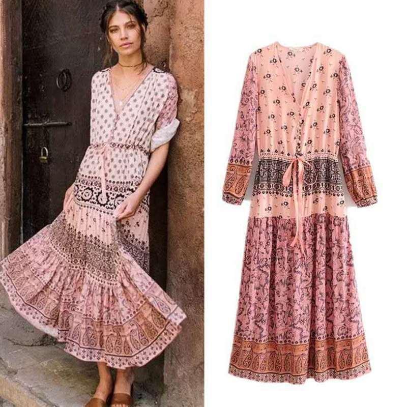 Günlük Elbiseler SS19 Konumlandırma Çiçek Şerit Sarılı Hava Fırtına Simian Tarzı Bayan Elbise