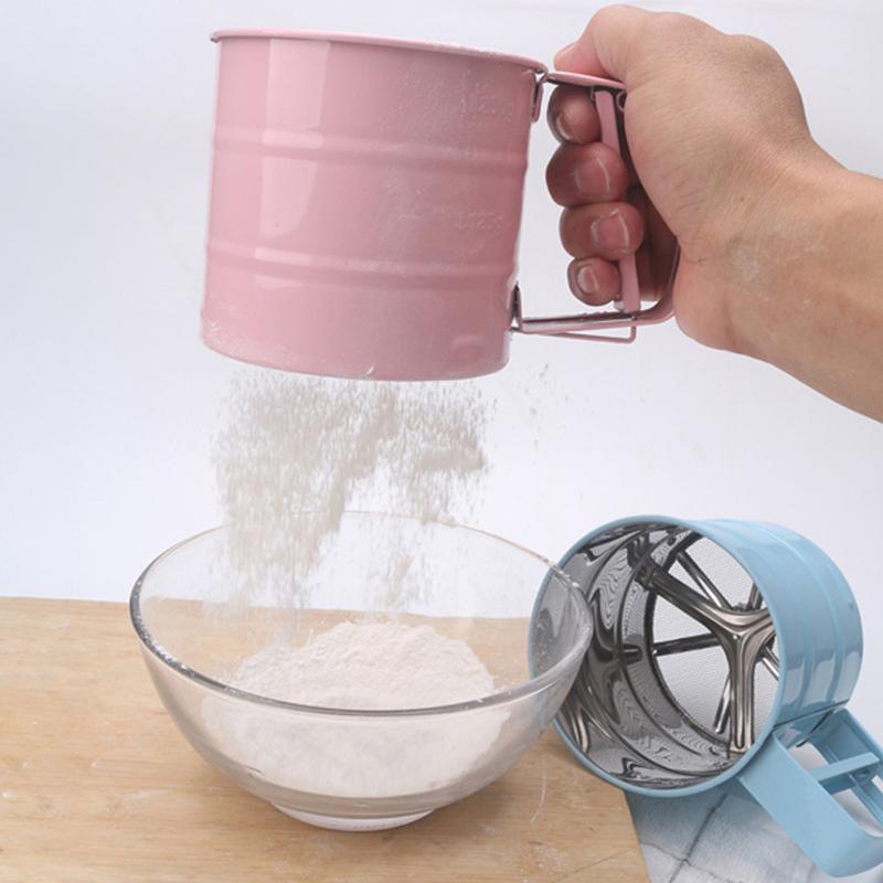 يده الدقيق شاكر الفولاذ المقاوم للصدأ شبكة غربال كأس الجليد السكر خبز أداة شبه التلقائي كعكة أواني الكاكاو مسحوق الخبز المعجنات أدوات