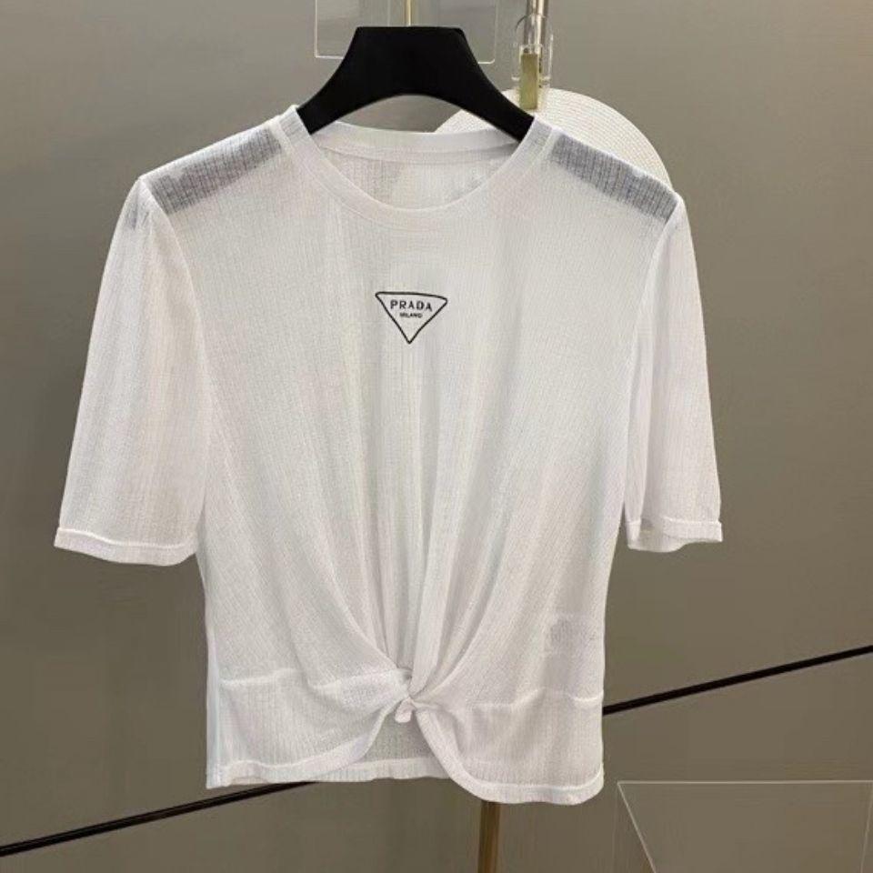 Designerp Aile Üçgen Yaz Yeni 21 Yıl Yüksek Kalite Moda Yabancı Stil Çok Yönlü İnce Perspektif Güneş Kremi Mektup T-shirtbalencaiga
