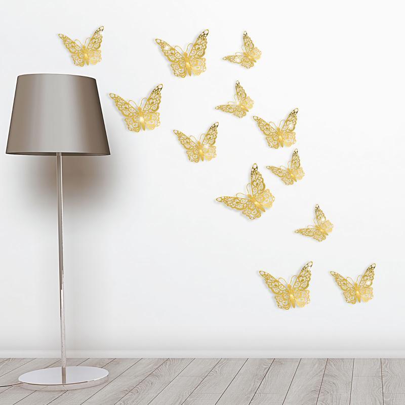 Adesivos de parede # 6 decorações de casamento 12 pcs ouro / prata 3d simulação borboleta chuveiro de nupcial festa de aniversário casa diy