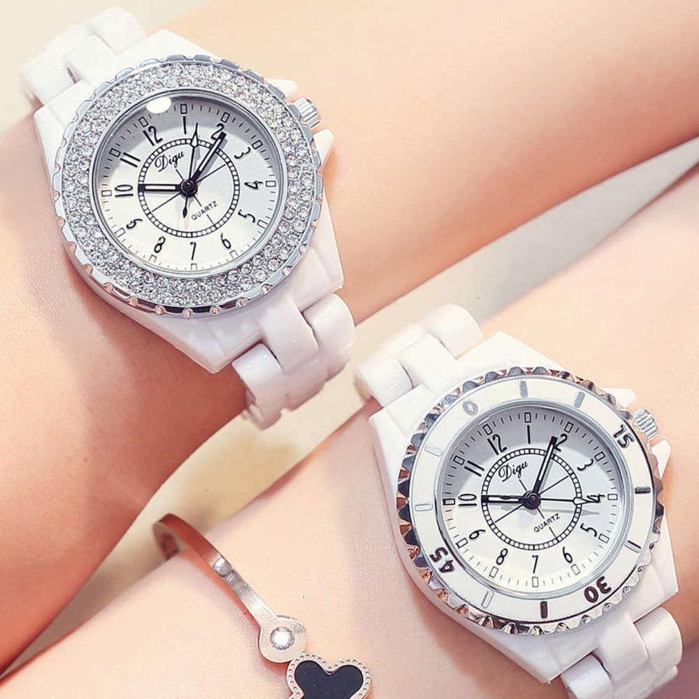 WristWatches Versão Estudante Temperamento de Coreano Simples Cerâmica Relógio Mulheres Quartz White Waterproof Ins Yuansufeng Unicorn F4in
