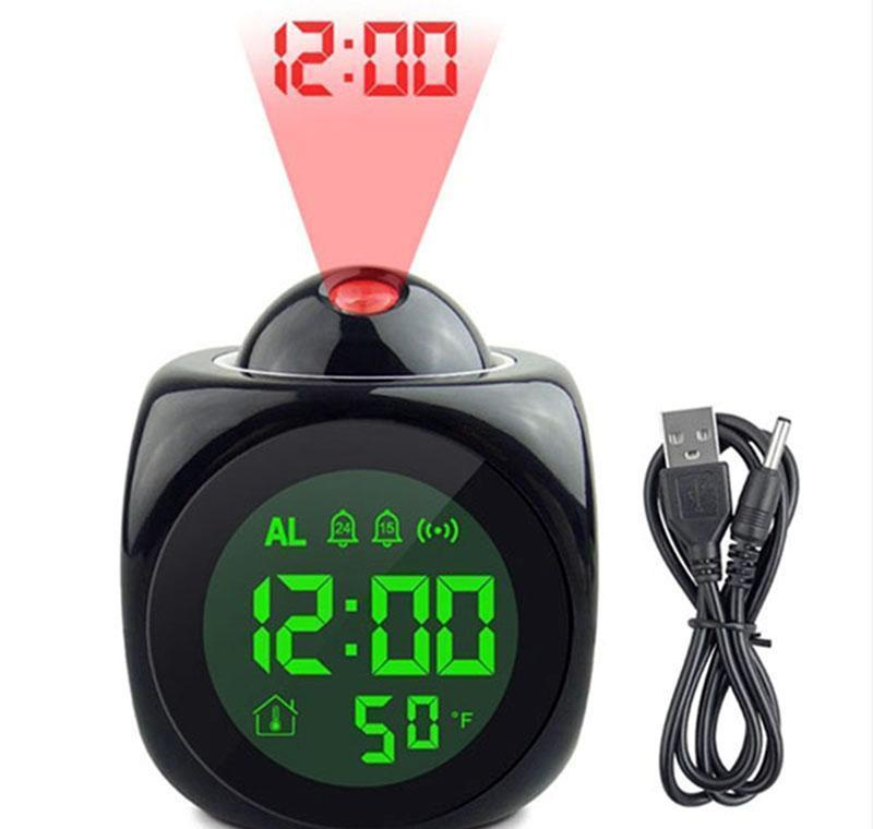 Desk Table Clocks Décor Home & Garden Drop Delivery 2021 Clock With Lamp Digital Voice Talking Function Led Wall Ceiling Projection Alarm Sn