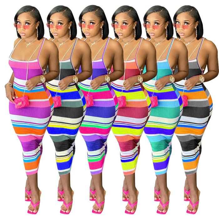 مثير مخطط ضمادة فساتين إمرأة الصيف المرقعة الحمالة عارية الذراعين bodycon اللباس الأزياء عارضة النساء الملابس