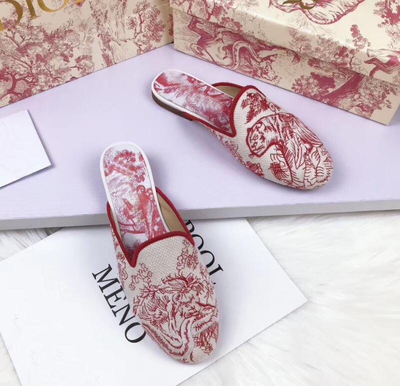 Роскошный летний мул Dway Slip на сандалиях элегантные женские мировые вышивки хлопок синий розовый слайд свадьба платья женские тапочки EU35-42