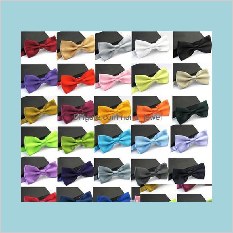 Accesorios de lazos de corbatas formales Necktie Hombres Mixto Color Sólido Mariposa Fiesta de Moda Negocio Boda Body Pajarita Vestido Masculino Camisa Drop Entrega
