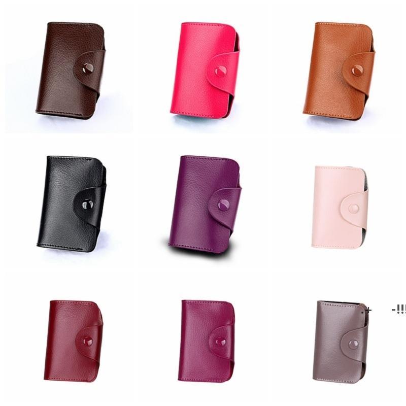 Unisex Kleine Lederkartenhalter mit Knopf Slim Wallet Visitenkarten Fall Orgel Kartenhalter Aufbewahrungstaschen 15 Slots 12 Slots FWF6332