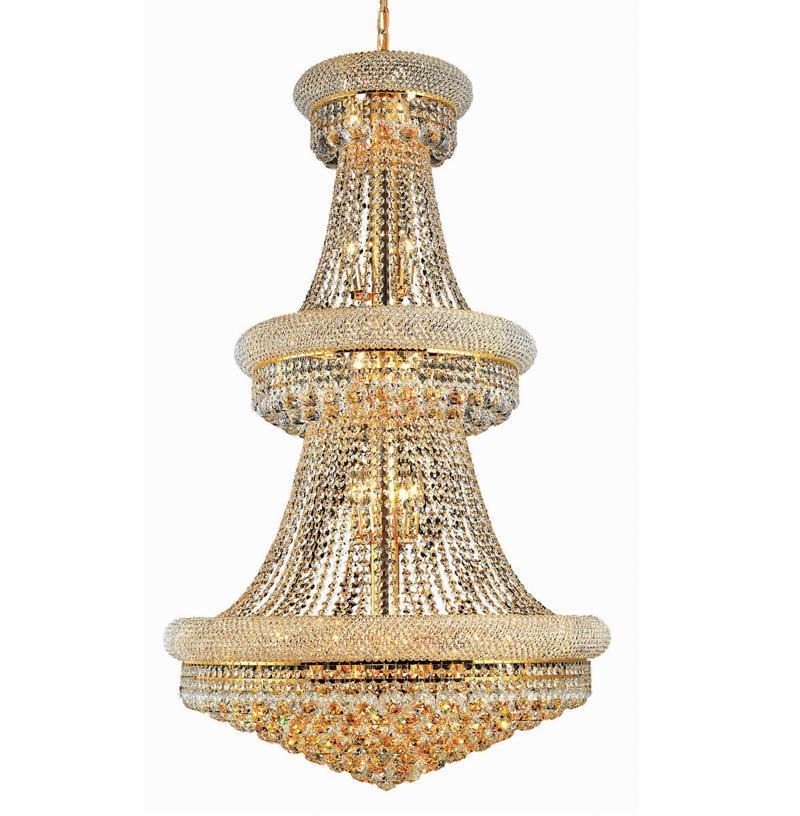 الحديث الإمبراطورية الفرنسية الذهب / كروم كبير الكريستال الثريا الثريات الإضاءة قلادة مصابيح الإضاءة الإضاءة لفيلات درج غرفة المعيشة