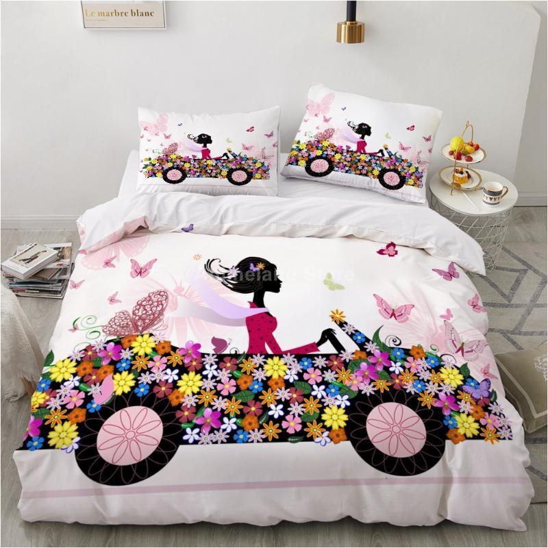 Bettwäsche Sets Blume Auto Set Mädchen Rosa Bett Bettwäsche Quilt Duvet Cover Home Textil Decor Twin Einzelne Königin King Size Mode Geschenk