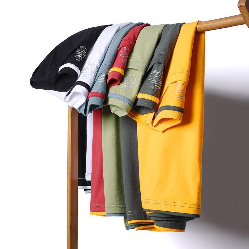 여름 남성용 티셔츠 편안한 통기성 스포츠 남자 캐주얼 반팔 퓨어 컬러 느슨한 O 칼라 티셔츠