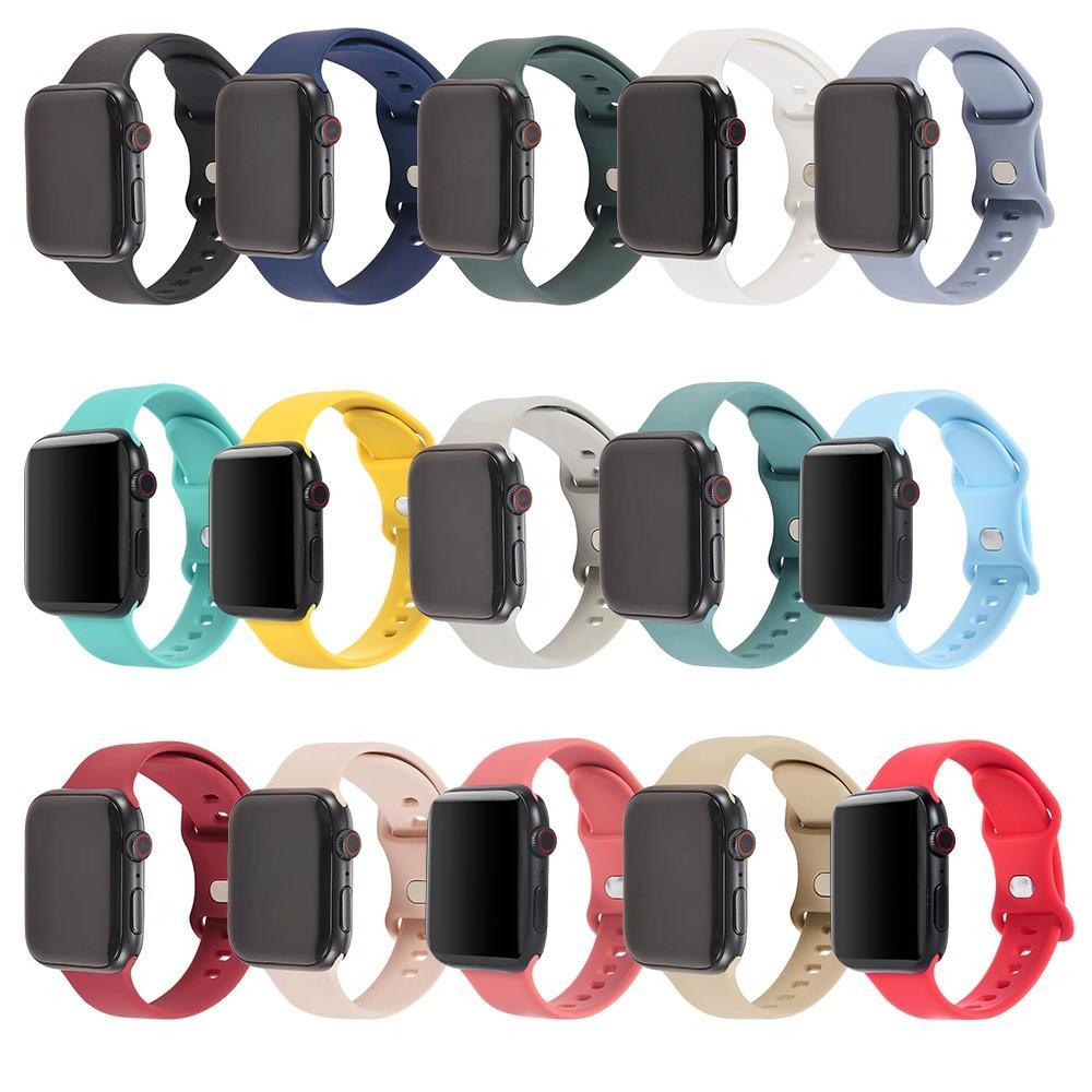 Silicone Watch Staraps ل Apple SmartWatch 7 6 5 4 3 2 1 SE مع زر مزدوج مشبك معدني متوافق مع IWatch 41 / 38/40mm 45/42/44mm