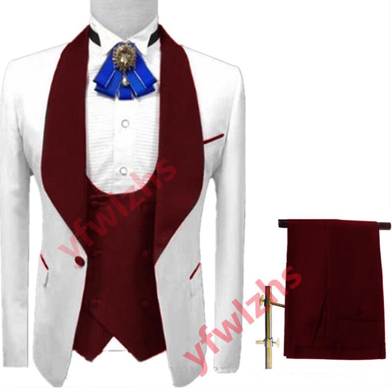 Classic One Button Wedding Tuxedos Shawl Lapel Slim Fit Suits For Men Groomsmen Suit Prom Formal (Jacket+Pants+Vest+Tie) W703
