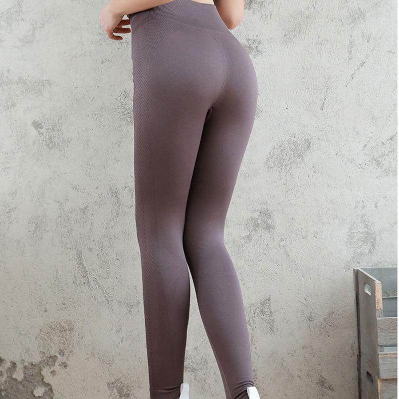 Alta cintura yoga fitness transpirable deportes de la mujer de las mujeres levantando y que forma la ropa interior sin fisuras elásticos letares apretados secado rápido
